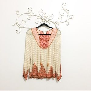 Lucky Brand Sheer Top with Tassels